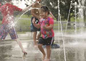 Sprayground at Jacobson Park July 21, 2021. Photo by Amy Wallot